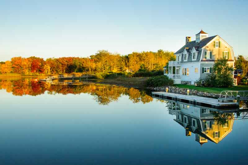 Kennebunkport in the fall on a Portland yacht charter