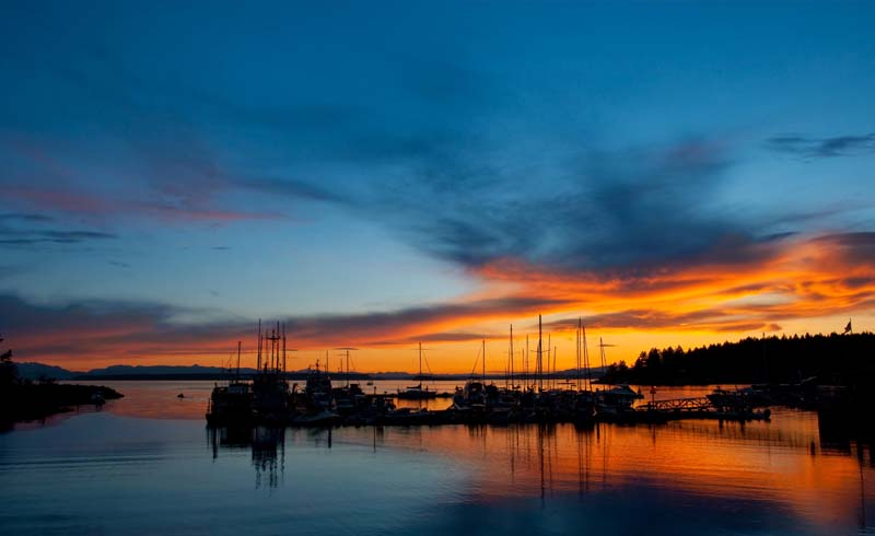 Sunset in Lund on British Columbia yacht charter
