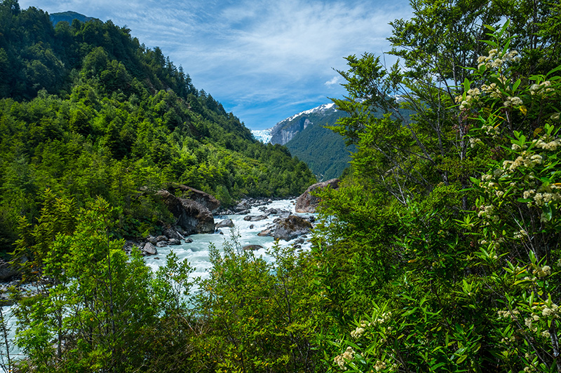 Moutain river stream on Patagonia yacht charter