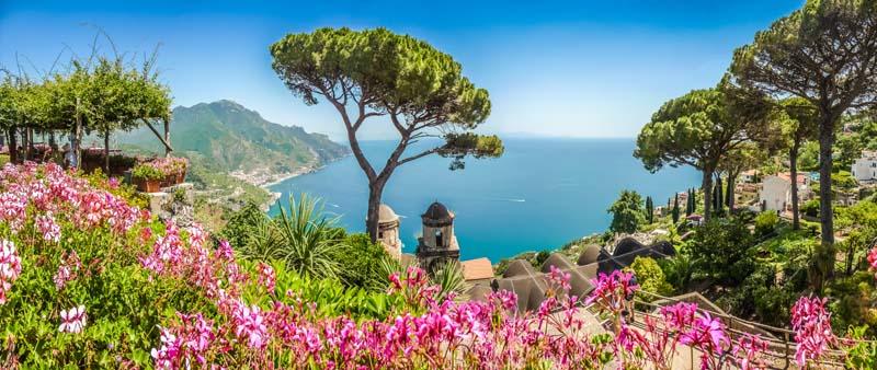 Stunning view of yacht charter on Italian Riviera