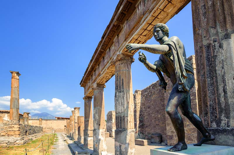 Ancient statue in Naples on Amalfi Coast yacht charter