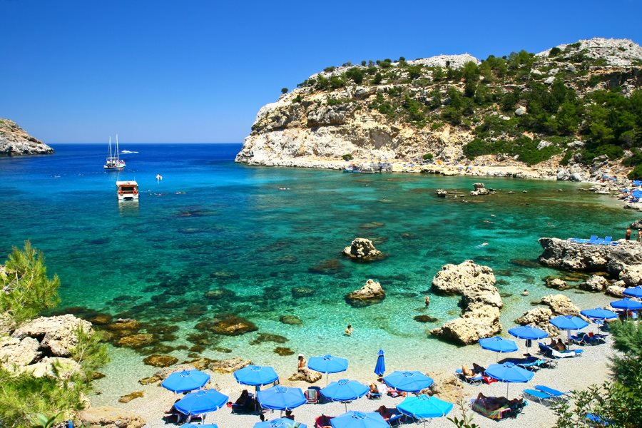 Rhodes' Anthony Quinn Bay on medieval Greece yacht charter