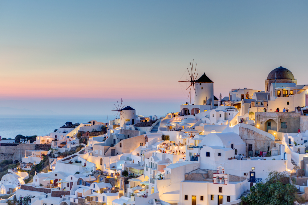 Sunset in Santorini, Cyclades yacht charter