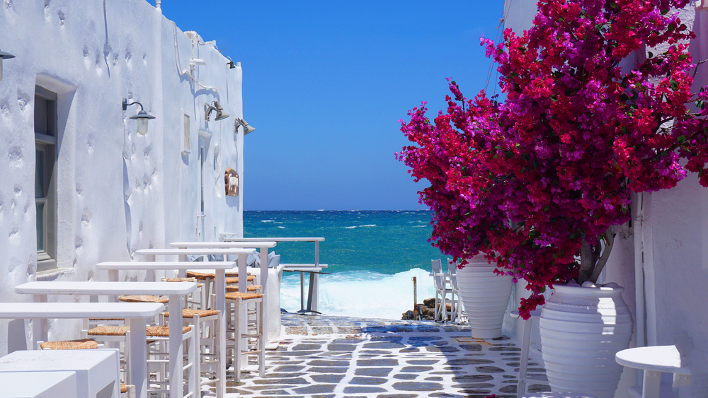 Charming streets on a Cyclades yacht charter