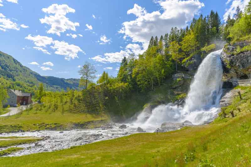 The lush Voringsfossen waterfall on Norway yacht charter