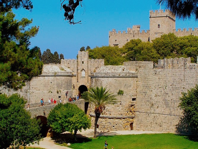 The walled city of Rhodes on a Medieval greece yacht charter