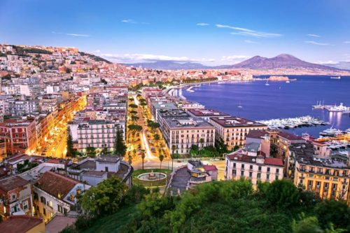 Panoramic view of Naples on Amalfi Coast yacht charter