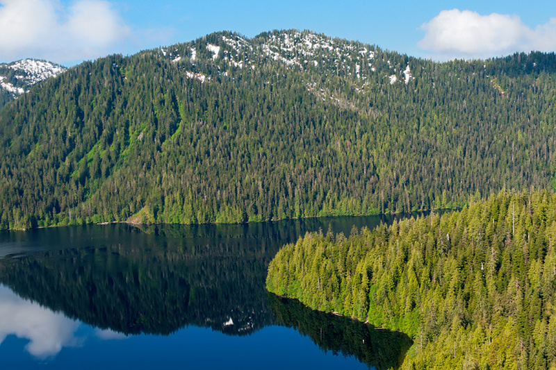 View of Hugh Smith Lake on a yacht charter itinerary Alaska