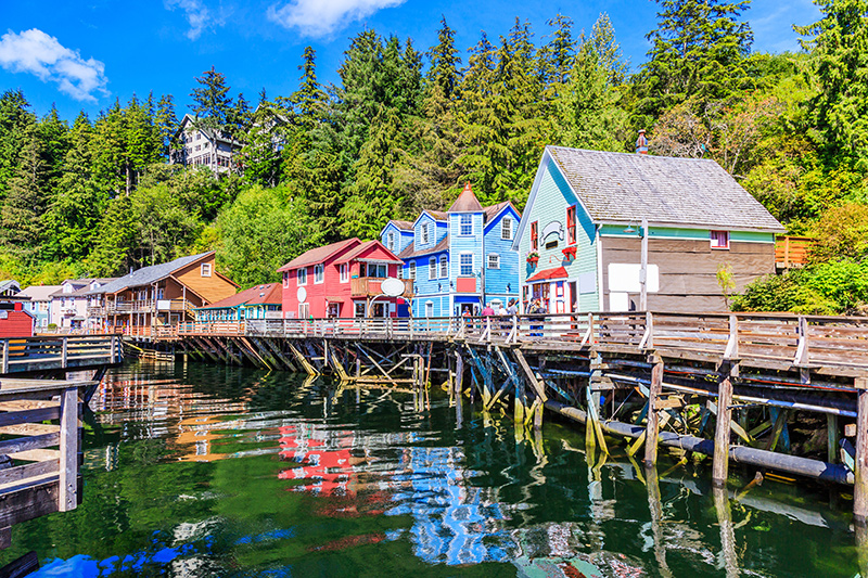 Colourful Ketchikan houses on a Yacht Charter Itinerary Alaska