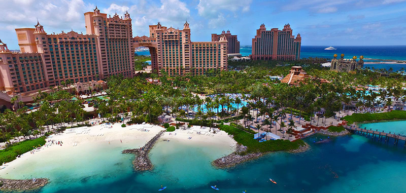 Panorama of Atlantis Resort on a yacht charter itinerary Bahamas