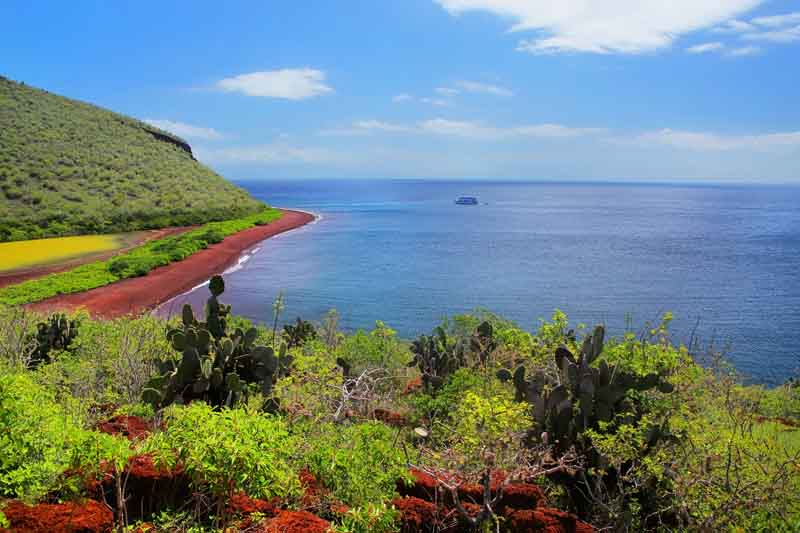 Red beach on Yacht Charter Itinerary Galapagos 1