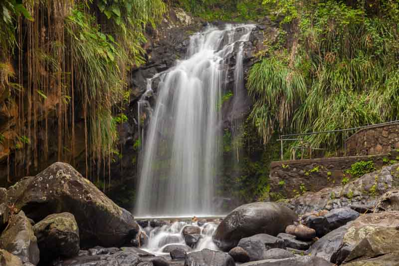 View of waterfall on a yacht charter itinerary Grenada
