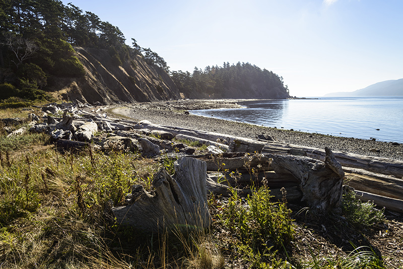 Beach on Sucia Island on a yacht charter itinerary in San Juan Islands