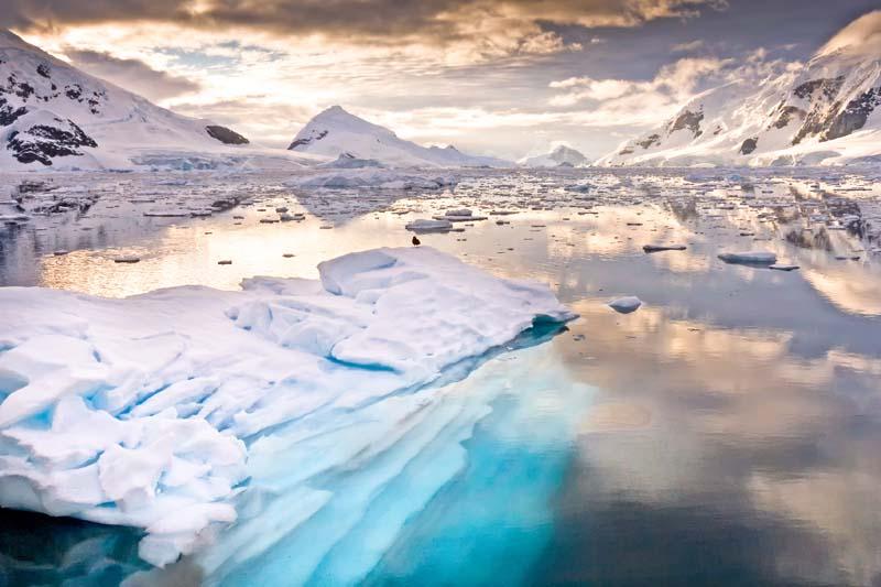 Iced sea on Antarctica yacht charter