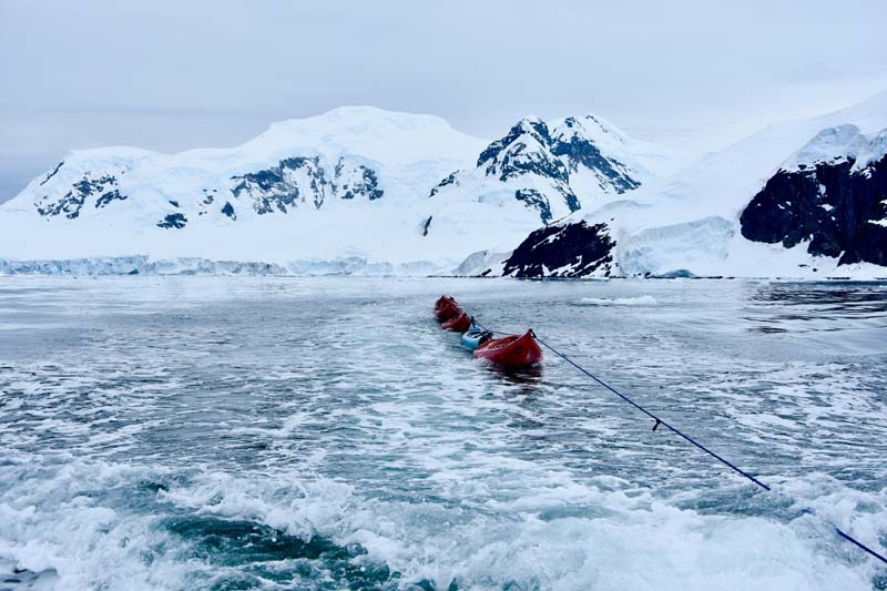 Kayaking in the Antarctica Circle on Antarctica yacht charter