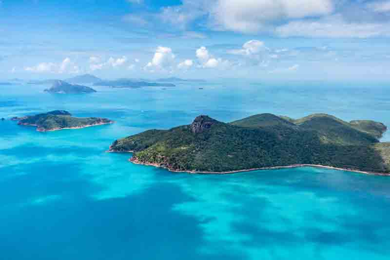 Aerial view of Langford Island on Australia yacht charter