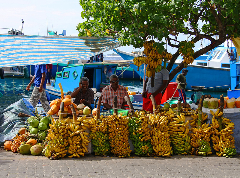Fruit and bananas market on a Maldives yacht charter