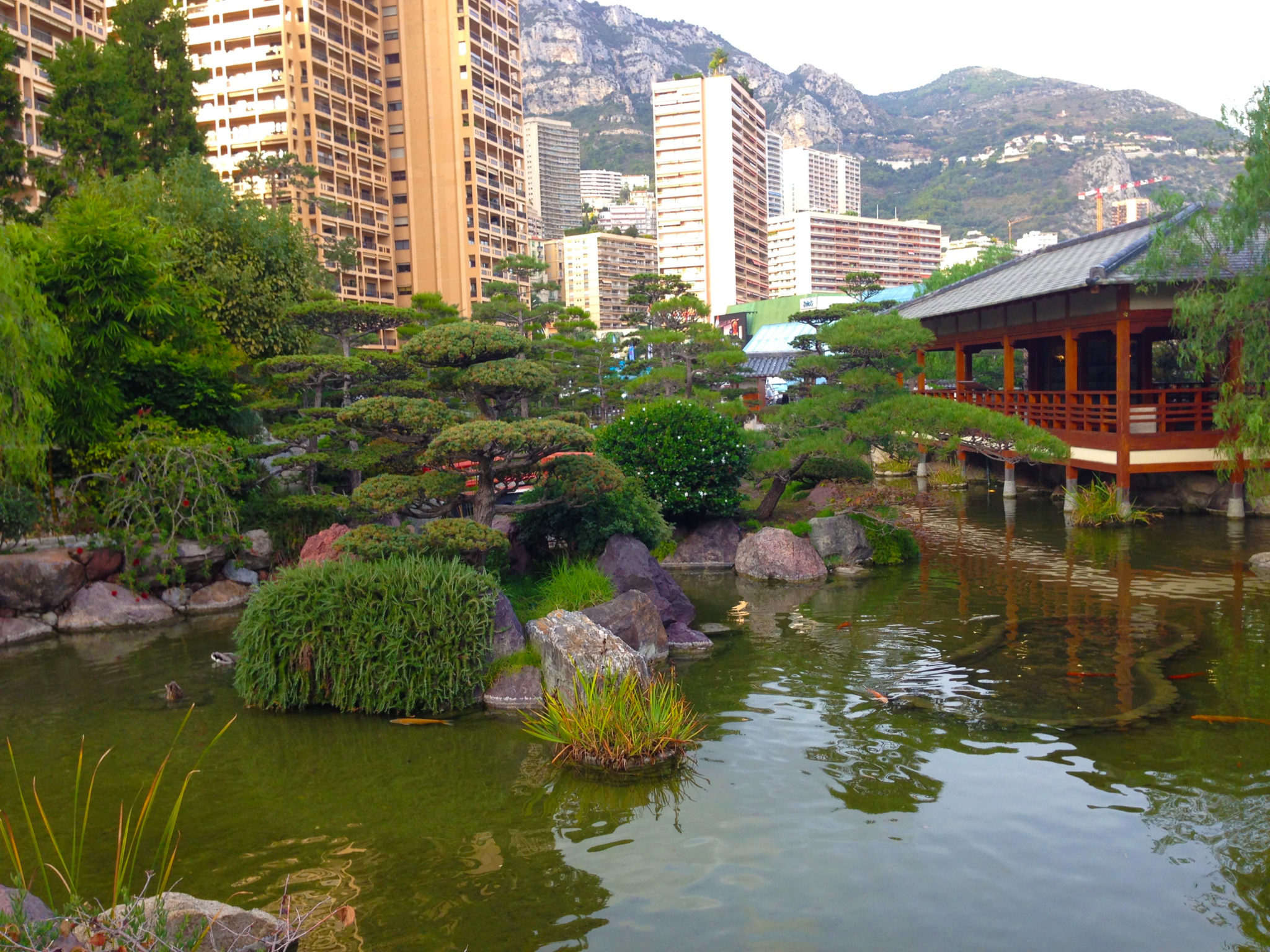 View of Japanese garden with Monaco yacht charter