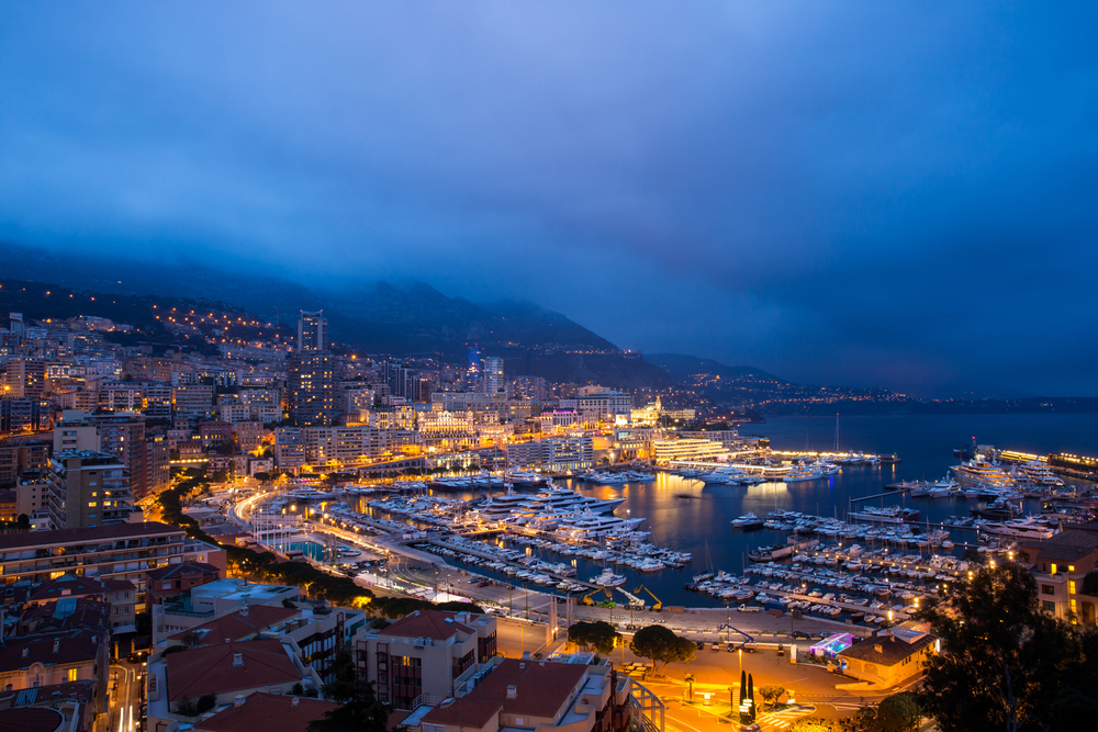 Monaco at night on a Monaco yacht charter