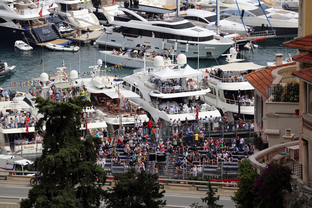 Superyachts in the harbour on a Monaco yacht charter