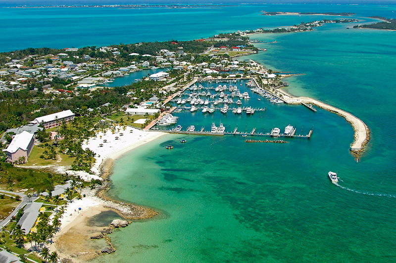 Aerial view of Marsh Harbour on yacht charter itinerary Abacos