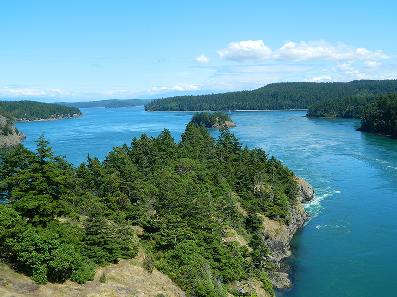 Overview of Bellingham entrance on a yacht charter itinerary San Juan Islands