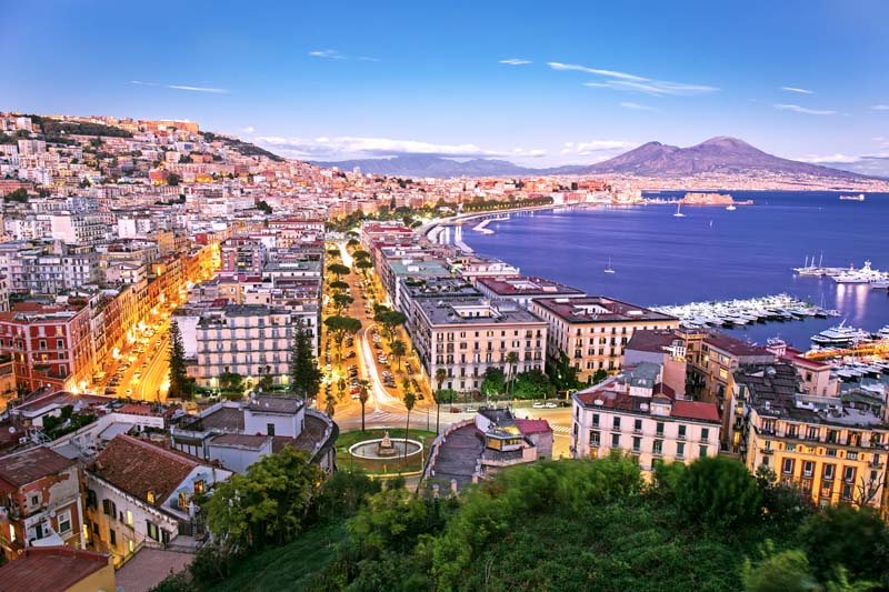 Panorama of Naples on a yacht charter itinerary Amalfi Coast