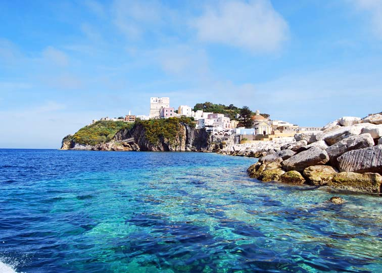 Ponza from the sea on a yacht charter itinerary Amalfi Coast