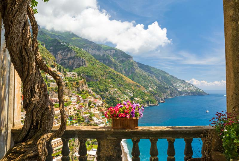 Positano balcony view on a yacht charter itinerary Amalfi Coast