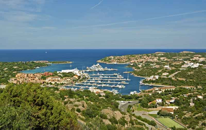Yacht harbor in Sardinia on a yacht charter itinerary Corsica