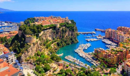 Monaco's rocher on a yacht charter itinerary Cote d'Azur