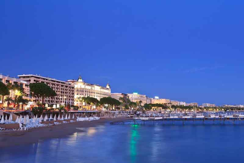 St Tropez by night on a yacht charter itinerary Cote d'Azur