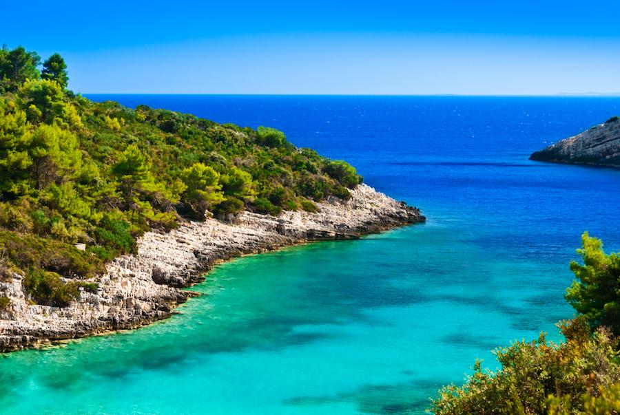 Adriatic blue lagoon on a yacht charter itinerary Croatia