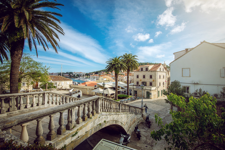 Historic city of Korcula on a yacht charter itinerary in Croatia