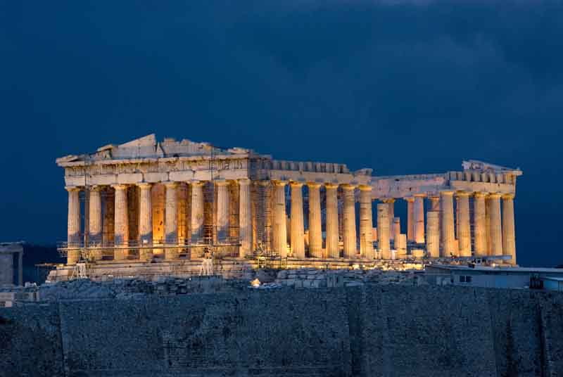 Acropolis by night on a yacht charter itinerary Cyclades