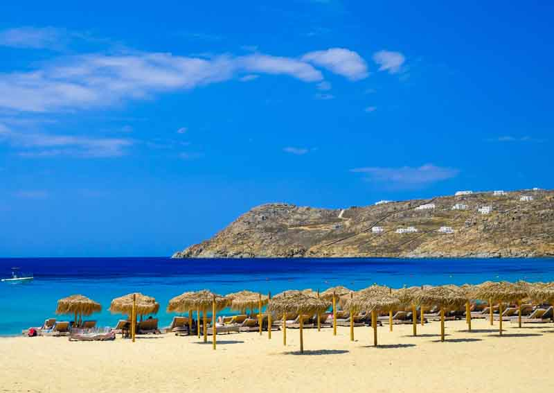 Beach in Mykonos on a yacht charter itinerary Cyclades