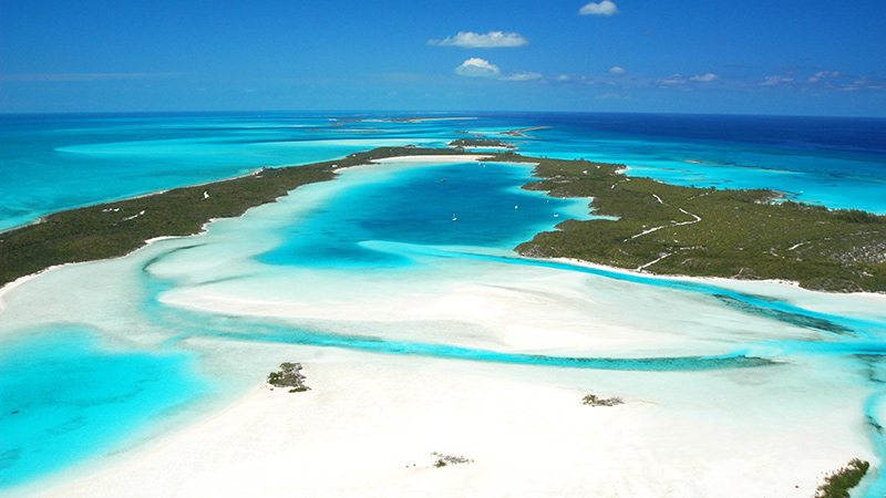 Aerial view of Warderick Wells on yacht charter itinerary Exumas