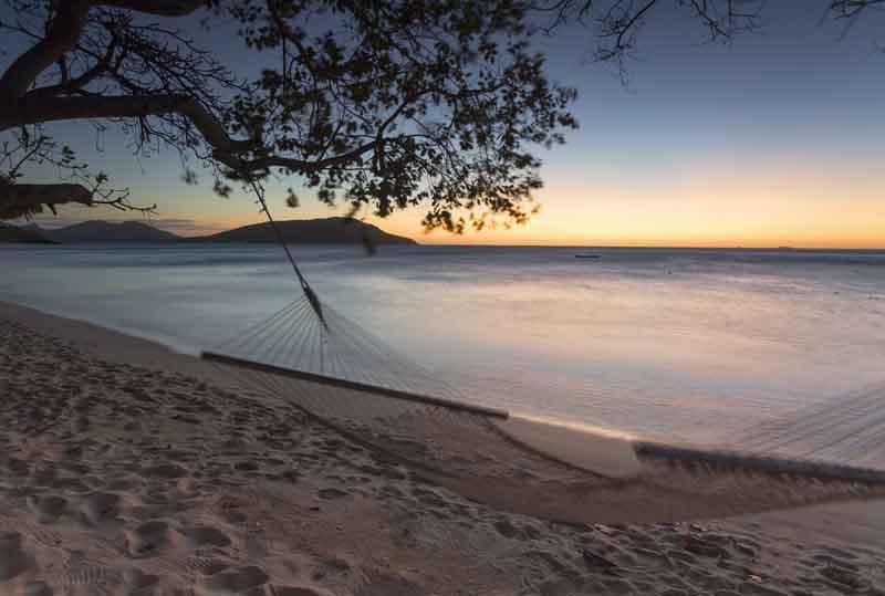 Beach hammock on a yacht charter itinerary Fiji