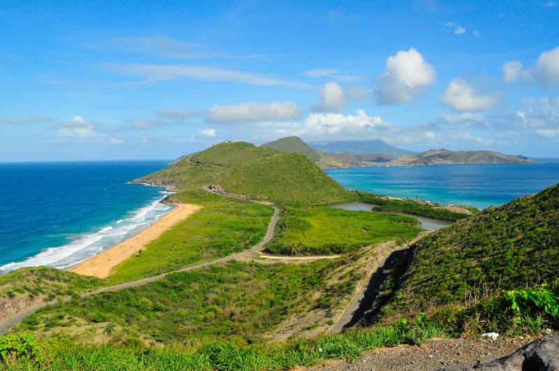 Nevis coast on a yacht charter itinerary French Caribbean