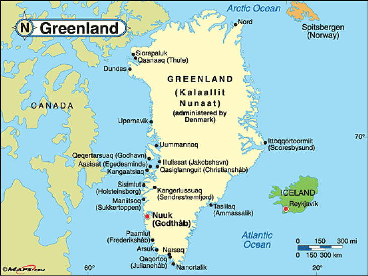 Map of yacht charter itinerary in Greenland
