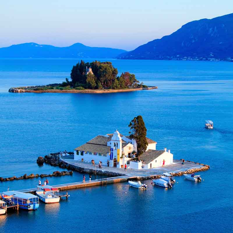 Harbor on a yacht charter itinerary Ionian Islands