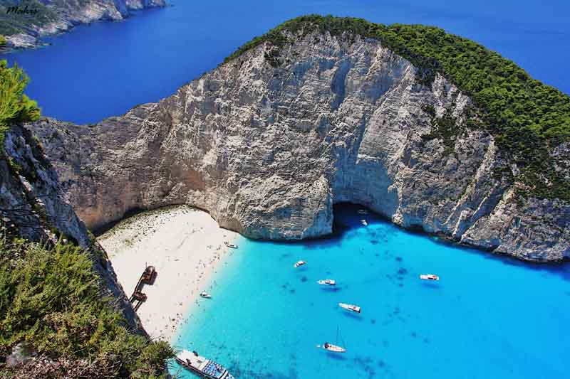 Kelafonia mountain and beach on yacht charter itinerary Ionian Islands