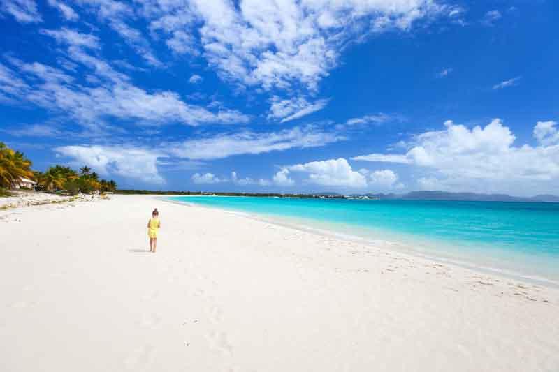Beach in Anguilla on a yacht charter itinerary Leeward Islands