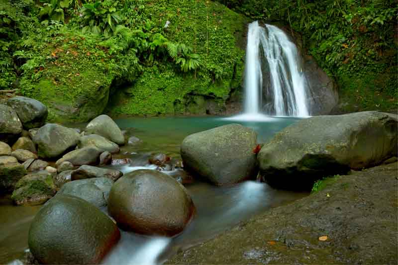 Waterfall on Leewards Islands yacht charter itinerary