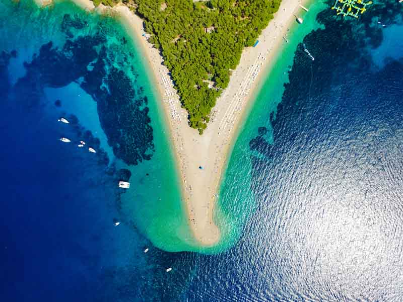 Aerial view of Brac's beaches on a yacht charter itinerary Montenegro