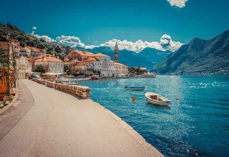Kotor's seaside on a Montenegro yacht charter itinerary