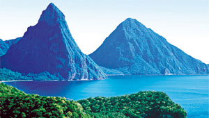Pitons on a yacht charter itinerary St Lucia